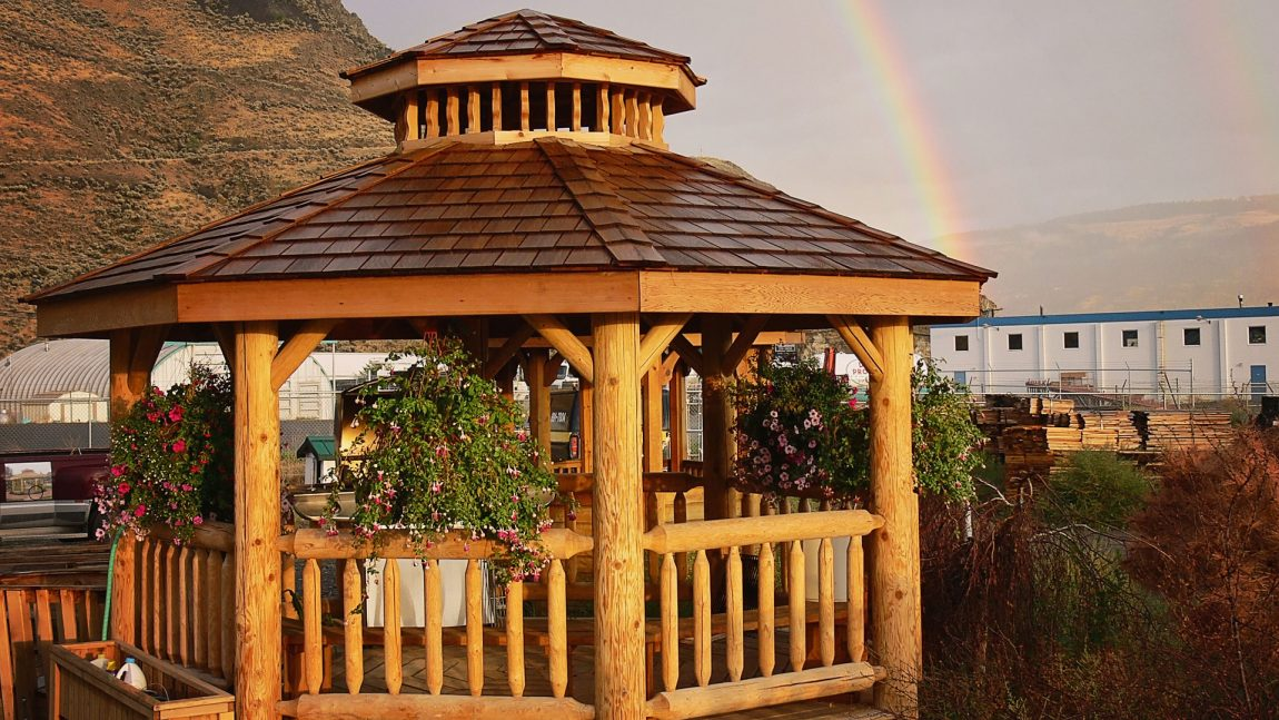 Cedar log gazebos valleyview lumber for Rustic gazebo kits
